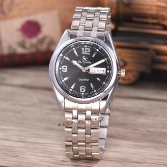 Saint Costie Original Brand-Jam Tangan Pria-Body Silver-Black dial-Stainless Stell Band-SC-RT-5236A-G-WB-TH