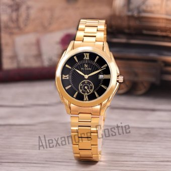 Saint Costie Original Brand, Jam Tangan Wanita - Body Gold - Black Dial - Stainless Stell Band - SC-RT-8002L-TGL-GB-GOLD-Detik