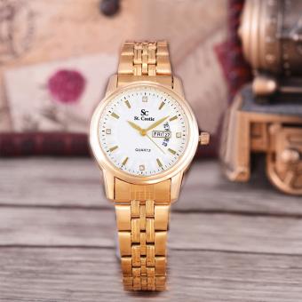 Saint Costie Original Brand, Jam Tangan Wanita - Body Gold - White Dial - Stainless