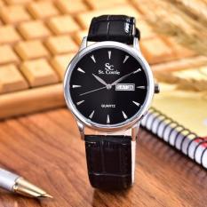 Saint Costie  Original Brand, Jam Tangan Wanita - Body Silver - Black Dial – Black Leather Strap - SC-JK-8009L-T/H-SB-Black Leather