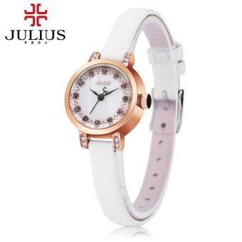 S&L Julius JA - 884 Women Quartz Watch Slender Genuine Leather Band Artificial Diamond Dial 3ATM
