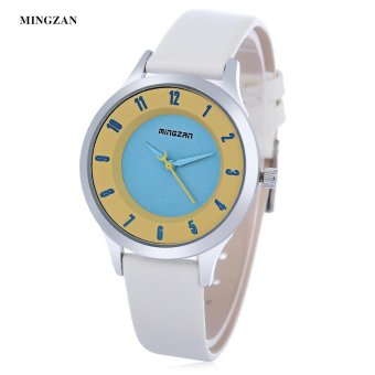 S&L MINGZAN 6202 Women Quartz Watch Stereo Dial Leather Band Daily Water Resistance Female Wristwatch (