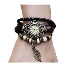 santorini jam tangan wanita fashion leather strap leaf style women watch black