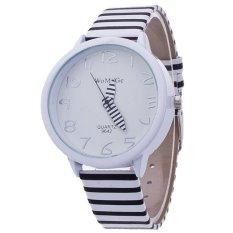 Santorini Jam Tangan Wanita Stripes Fashion Leather Analog Women Wrist Watch - Black