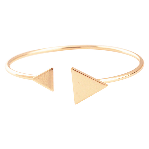 Sanwood Women's Metal Adjustable Triangle Open Cuff Bangle Jewelry Golden