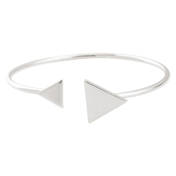 Sanwood Women's Metal Adjustable Triangle Open Cuff Bangle Jewelry Silver