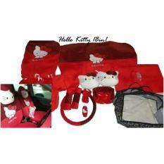 Sarung Jok 18in1 / Car Set / Bantal Mobil Hello Kitty Merah/Hitam Jazz, Yaris, March, Avanza, Xenia, Ertiga, dll (Head-rest Tidak Menyatu) (2 Baris)