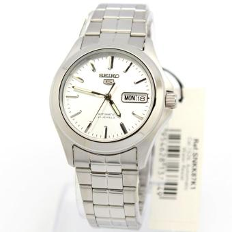 Seiko Watch 5 Automatic Silver Stainless-Steel Case Stainless-Steel Bracelet Mens NWT + Warranty SNKK87K1