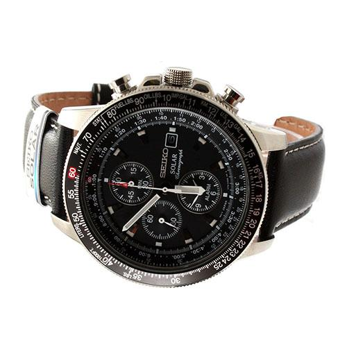 Seiko Watch SOLAR Black Stainless Steel Case Leather Strap Mens NWT Warranty SSC009P3 .