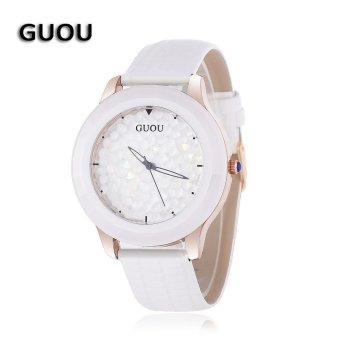 SH GUOU 8026 Women Quartz Watch Artificial Rhinestone Solid Dial 3ATM Hollow-out Pointer Wristwatch