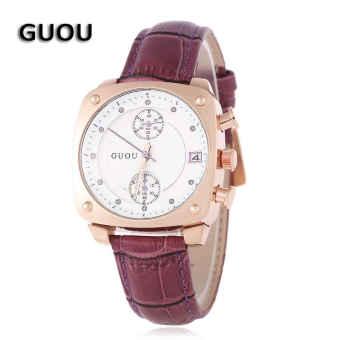 SH GUOU 8108 Women Quartz Watch Chronograph Artificial Diamond Scale Square Dial Calendar 3ATM Wristwatch Purple