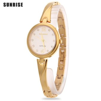 SH SUNRISE SL711SWA Female Quartz Watch Artificial Rhinestone Dial Sapphire Mirror Slender Strap Water Resistance Wristwatch Gold - intl