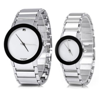 SINOBI 9106 WATER RESISTANT JAPAN COUPLE QUARTZ WATCH MILITARY ARMYSTAINLESS STEEL BAND (WHITE & SILVER