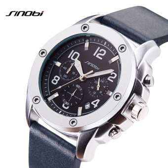 SINOBI New Sport Watches Chronograph Men Quartz Wrist Watch Top Luxury Brand Watches Male Geneva Quartz Clock (Blue Leather Watchband) - intl
