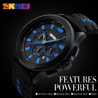 Skimei Men Casual Silicone Quartz Watch Waterproof Fashion 30 Meters Waterproof Stopwatch 9136 - Black - intl - 3