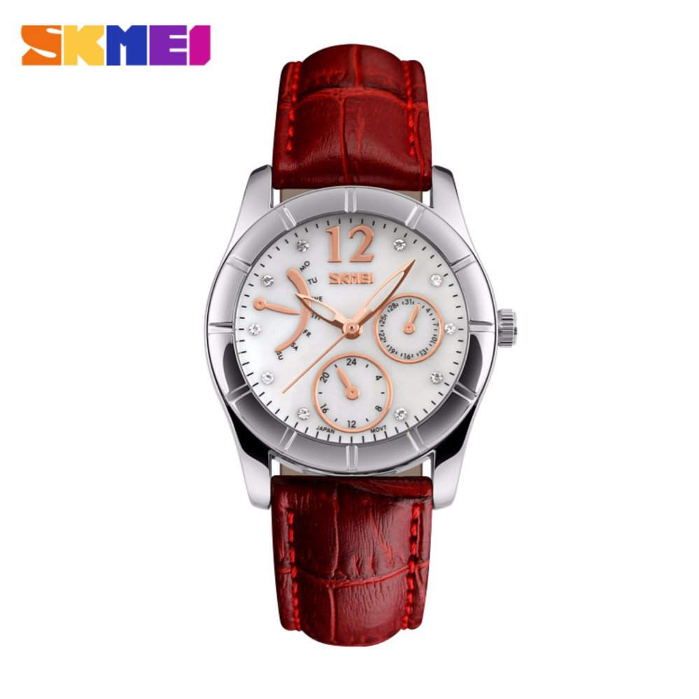 SKMEI Casual Women Leather Strap Watch Water Resistant 30m 6911CL Jam Tangan  Wanita Strap Kulit Original. Desain stylish dan modern 96fc194681