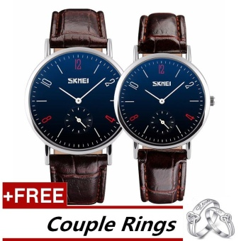 SKMEI Classic Lovers Couple Watch Women Men's Watches Quartz Waterproof Wrist Watches 9120 - Brown Belt