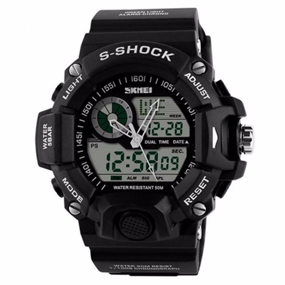 Sport Design SKMEI Dual Time Men Sport LED Watch Anti Air Water Resistant WR 50m AD1029 Jam Tangan