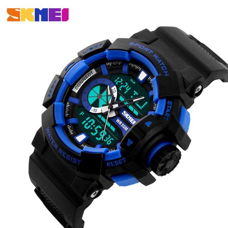 ... SKMEI Dual Time Men Sport LED Watch Anti Air Water Resistant WR 50m AD1117 Jam Tangan ...