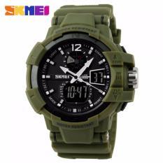 SKMEI Dual Time Military Men Sport LED Watch Anti Air Water Resistant WR 50m AD1040 Jam Tangan Pria Tali Karet Digital Alarm Wristwatch Wrist Watch Fashion Sporty Design - Hijau Army