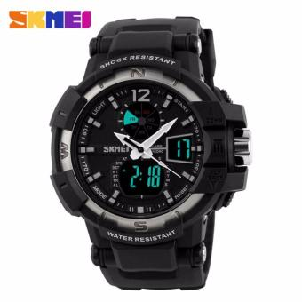 SKMEI Dual Time Military Men Sport LED Watch Anti Air Water Resistant WR 50m AD1040 Jam