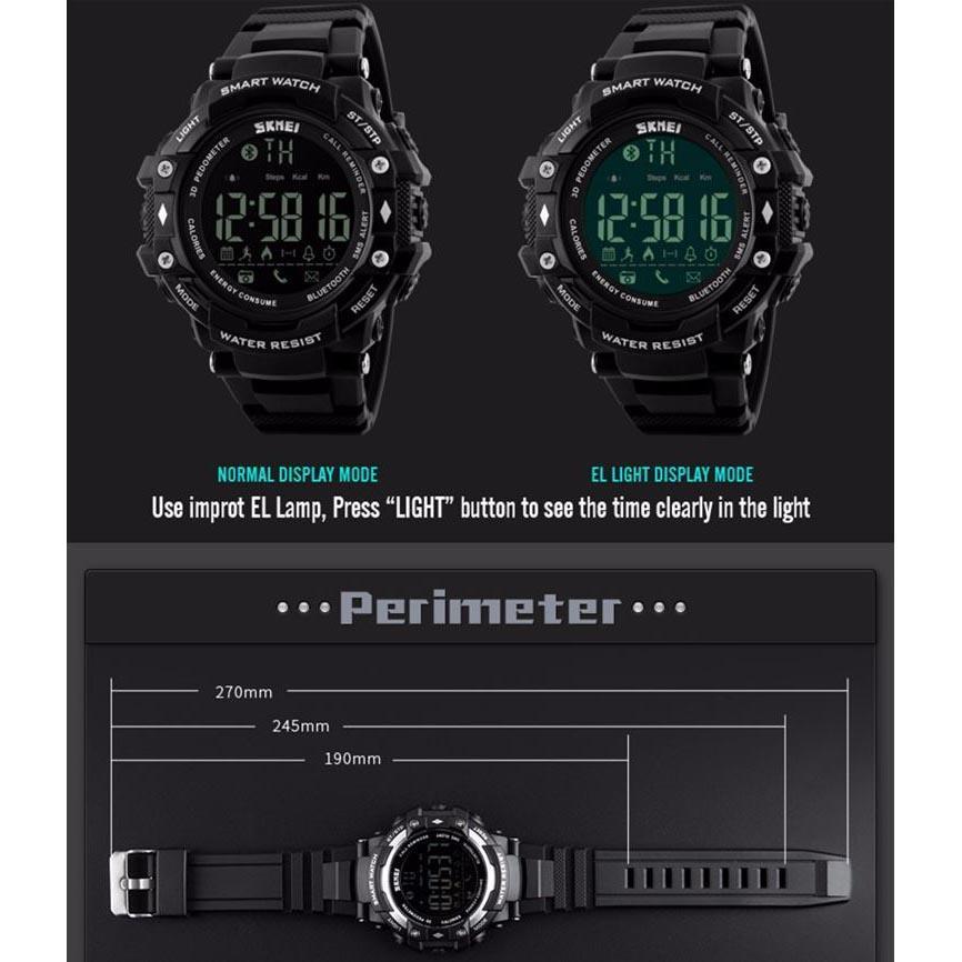 ... SKMEI Jam Tangan Olahraga Smartwatch Bluetooth DG1226 BL Black Blue