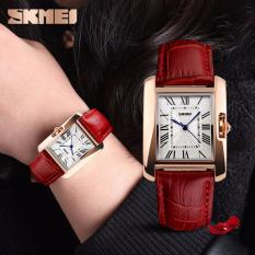 SKMEI Jam Tangan Wanita Classic Time Piece Fashion Watch  Casual Ladies Leather Strap Water Resistant Anti Air WR 30m Tali Kulit 1085CL Accessories Square Trendy Model Baru - Merah