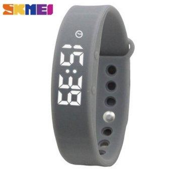 SKMEI LED Women Smart Bracelet Watch Sport Tracking Calorie Sleeping Monitoring Pedometer Thermometer Wristband LED Digital Wristwatches - Grey - intl