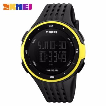 SKMEI Man Sport LED Watch Water Resistant Anti Air WR 50m DG1219 Jam Tangan Pria Tali Strap Karet Silicone Digital Alarm Wristwatch Wrist Watch Sporty Design - Hitam