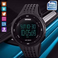 SKMEI Olahraga Fashion Watches Tahan Air LED Digital Militer Watch Pria dan wanita Berenang Pendakian Outdoor Kasual Tali PU Wristwatc -hitam