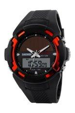 Skmei Tonton 1056 Panel surya Dengan produk Jepang kuarsa DigitalGanda pria Waktu 50m penyelam Olahraga merah