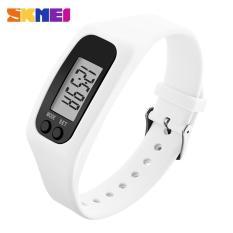 SKMEI Wanita Fashion olahraga Watches Pedometer kalori Sport Mileage Digital Watch gadis Colorful silikon tali jam tangan 1207 - putih