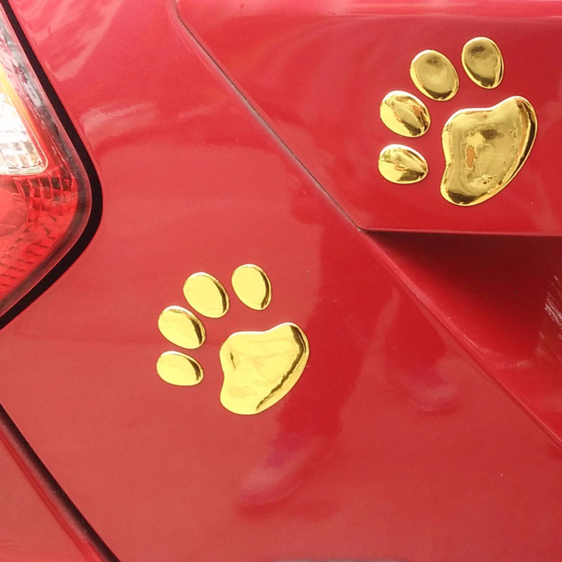 Sohoku Stiker 3D Dog Footprint / Cakar Anjing - Emas ...