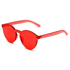 Sunshop Tanpa Bingkai Retro Sunglasses Cat Eye Transparan Warna Candy Kacamata