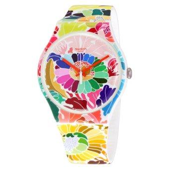 Swatch Jam Tangan Wanit-Suow126 Flowerfool – Putih