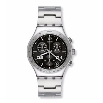 SWATCH YCS564G - BLUSTERY BLACK - Chronograph - Jam Tangan Pria - Bahan Tali Stainless Steel - Silver