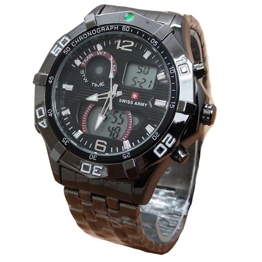 Leather Source Swiss Army Dual Time Jam Tangan Pria Strap Kulit Coklat Muda
