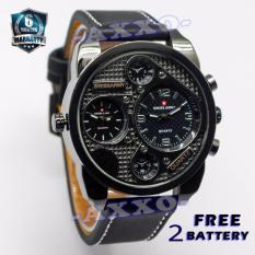 Swiss Army Dual Time- Jam Tangan Pria - Hitam - Strap Kulit - SA 9100-1 L