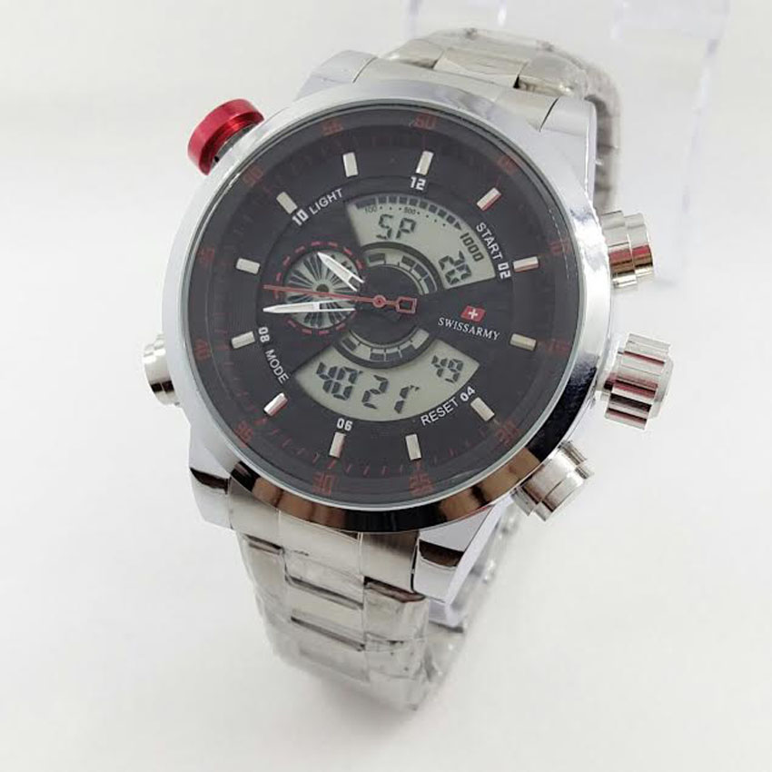 Swiss Army Dual Time Jam Tangan Pria SA 1502 Silver Black Red Stainless Steel Lazada Indonesia