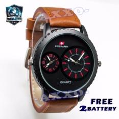 Swiss Army Dual Time - Jam Tangan Pria - Strap Kulit - Coklat Variasi Merah -