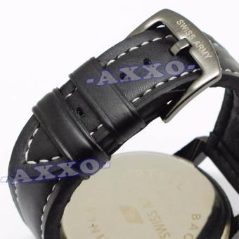 Swiss Army Dual Time - Jam Tangan Pria - Strap Kulit - Hitam Variasi Biru - SA 0047 - 5