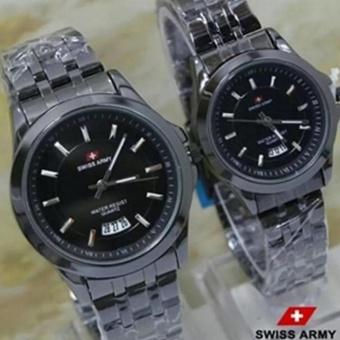 Swiss Army - Jam Tangan Couple - Stainless Steel SA-8763 hitam
