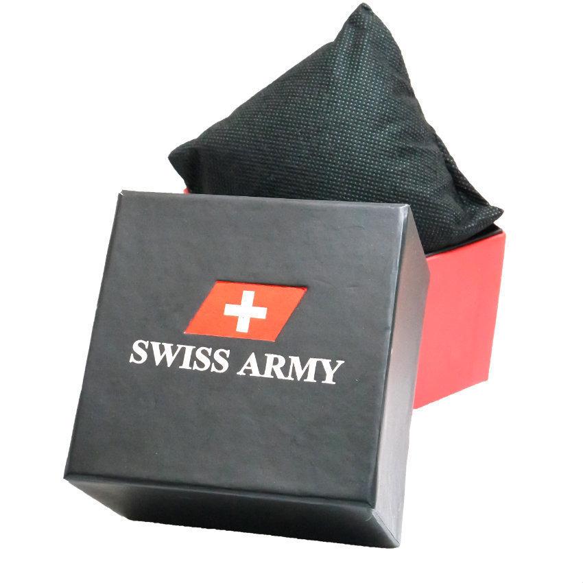 Swiss Army - Jam Tangan Couple - Strap Kulit Hitam - Dial Putih .