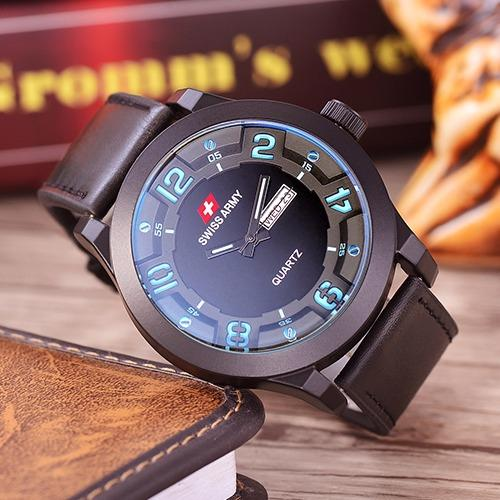 Swiss Army - Jam Tangan Pria - Body Black - Black/Blue .