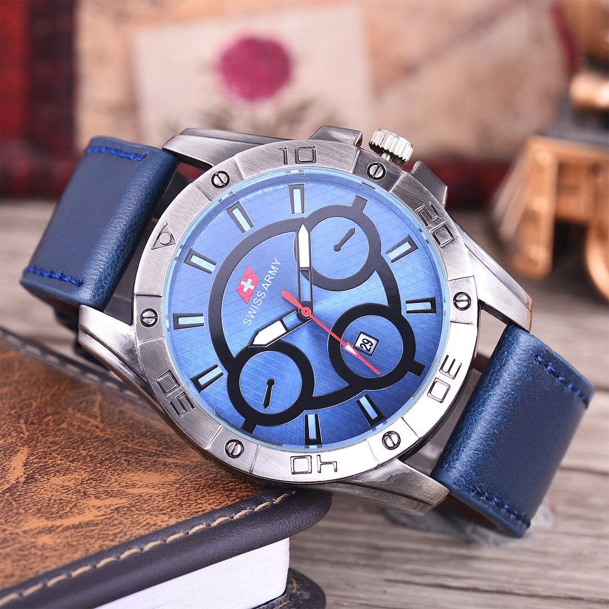 Swiss Army Jam Tangan Pria - Body Black - Blue Dial - Blue .