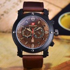 Swiss Army Jam Tangan Pria - Body Black  – Brown Leather - SA-3596A-BC-TGL