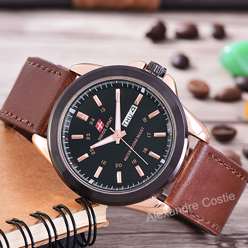 Swiss Army Jam Tangan Pria Body Rose Gold Black Dial Brown Leather .