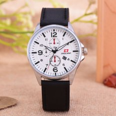 Swiss Army - Jam Tangan Pria - Body Silver - White Dial - Black Leather -