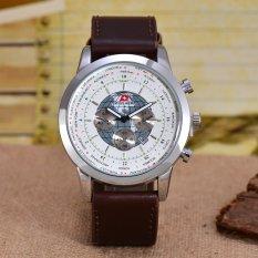 Swiss Army - Jam Tangan Pria - Body Silver - White Dial - Brown Leather strap