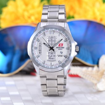 Swiss Army Jam Tangan Pria - Body Silver - White Dial - Stainless steel band -
